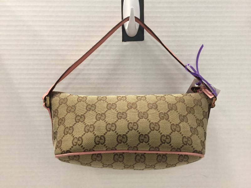 GUCCI Accessory Pink Leather Trim Pouch GG Canvas Hand Pouch