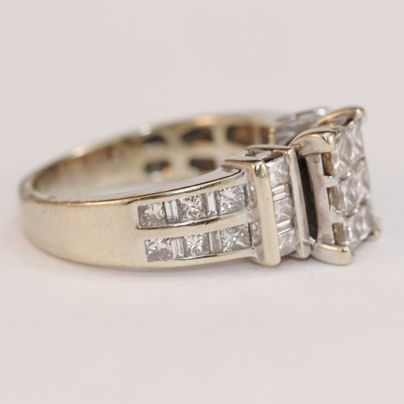Vintage Inspired 18K White Gold Diamond Engagement Ring Size 8.5