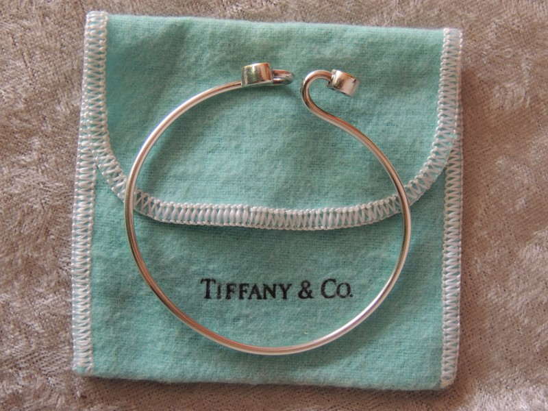 Tiffany & Co. Double Heart 18K & Sterling Silver Bangle Bracelet