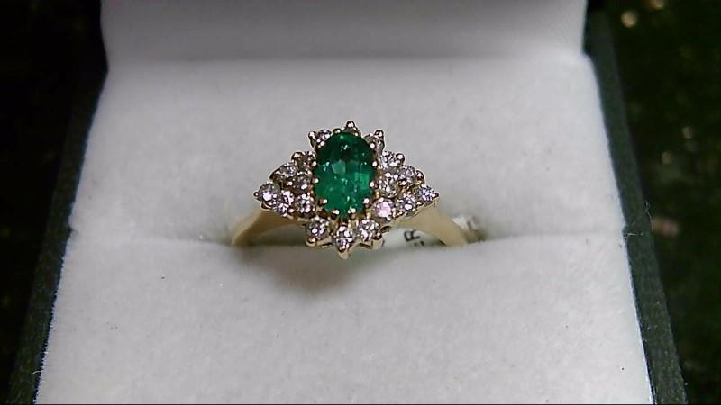 14K Yellow Gold Emerald 0.82 CTTW & Diamond 0.18 CTTW Ring 3.18G