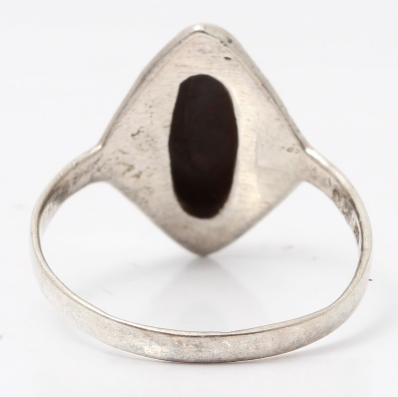 Sterling Silver Black Stone Ring Size 8.5