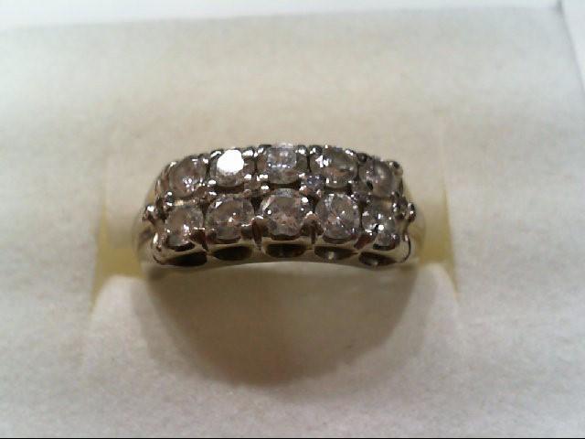Lady's Diamond Cluster Ring 10 Diamonds 1.20 Carat T.W. 14K White Gold 4.5g