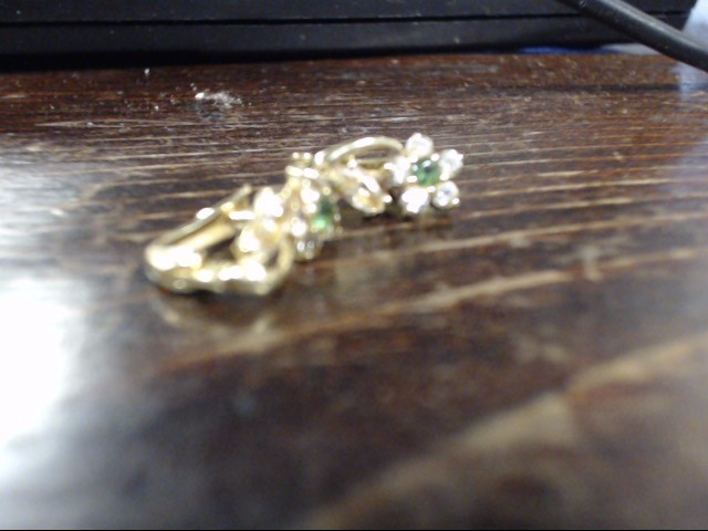 White Stone Gold-Stone Earrings 14K Yellow Gold 2.1g