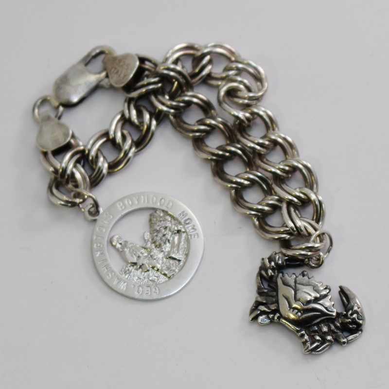"7.5"" Sterling Silver Italian Double Link Charm Bracelet Ferry Farm & Crab Charm"