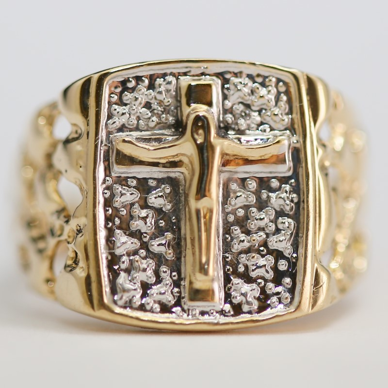 10K Two Tone Yellow & White Gold Open Work Cross Crucifix Gold Nugget Style Ring
