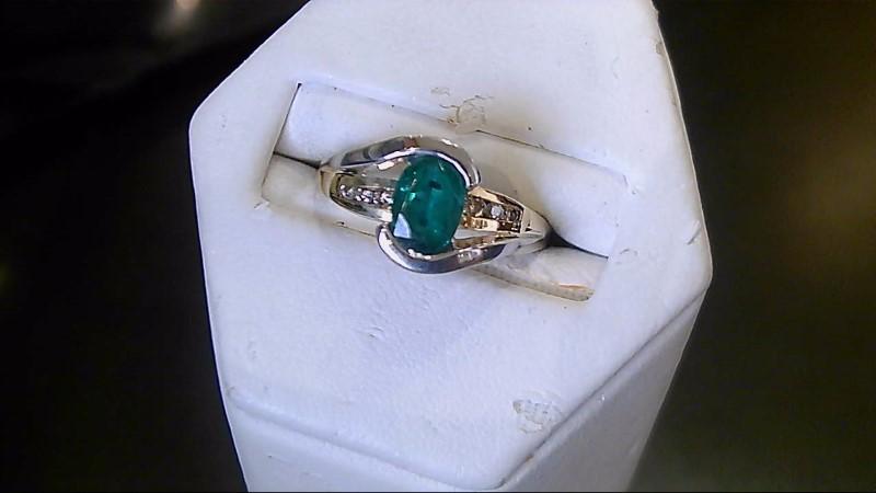 Emerald Lady's Stone & Diamond Ring 6 Diamonds .06 Carat T.W. 10K 2 Tone Gold