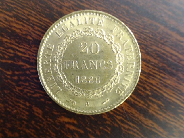 FRENCH 1886 A, PARIS MINT, 20 FRANCS GOLD COIN