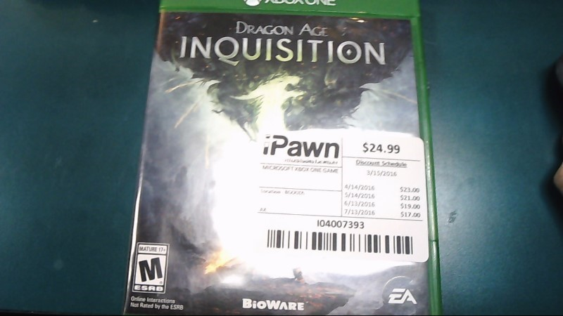 Microsoft XBOX One Game DRAGON AGE INQUISITION-Free Shipping