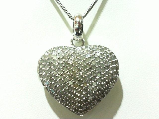 Silver-Diamond Pendant 173 Diamonds 3.46 Carat T.W. 925 Silver 13g