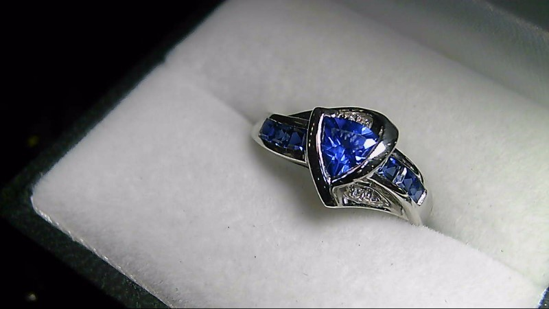 Synthetic Sapphire Lady's Stone Ring 10K White Gold 1.6g Size:6.8