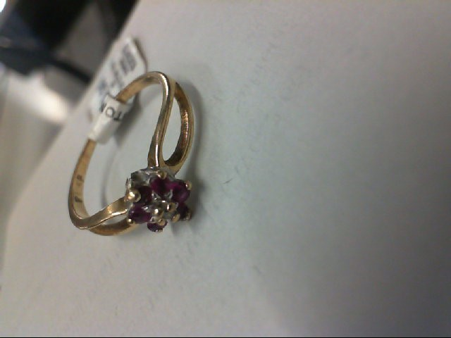 Red Stone Lady's Stone & Diamond Ring .01 CT. 10K Yellow Gold 1.3g