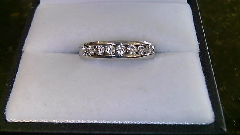 Lady's Gold-Diamond Anniversary Ring 9 Diamonds .45 Carat T.W. 14K White Gold