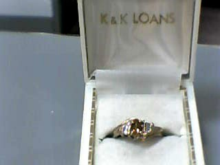 Citrine Lady's Stone & Diamond Ring 6 Diamonds .12 Carat T.W. 10K Yellow Gold