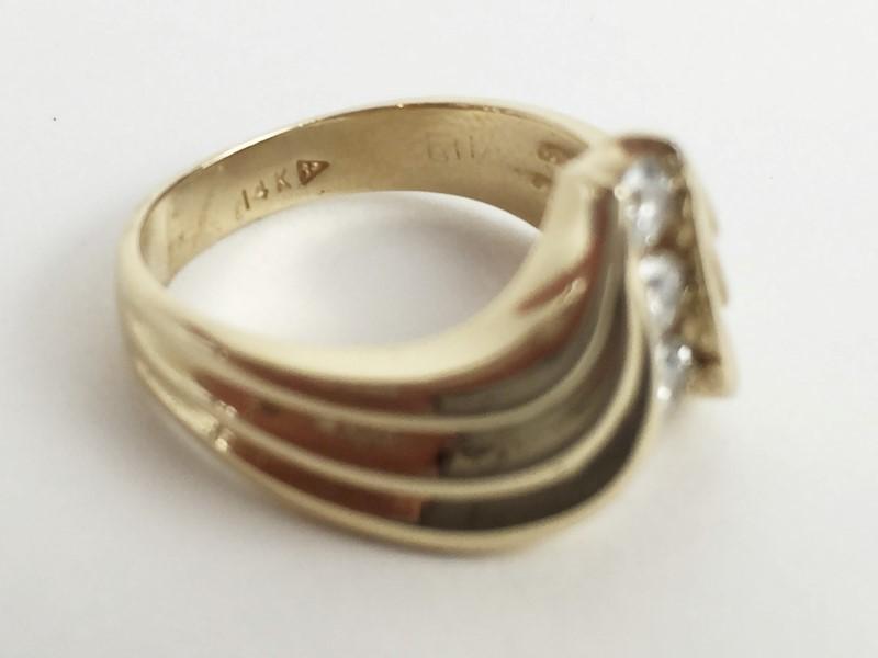 Lady's 14KT YG Diamond Chevron Ring .36 CTW 5.3G Size 6