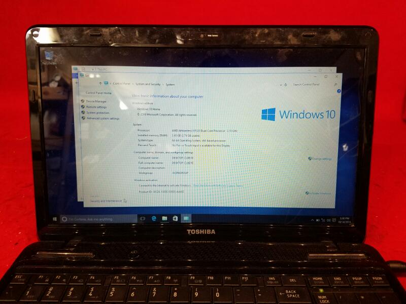 Toshiba Satellite Laptop 320gb HDD / 3gb Ram / 2.10GHz / AMD Athlon II P320