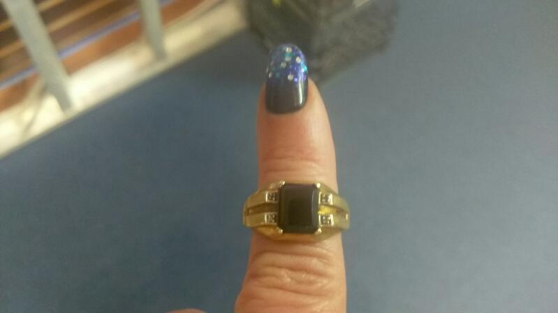 Gent's Synthetic Onyx Ring 10K Yellow Gold 3.4g Size:10