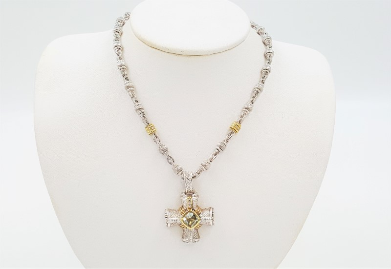 "Judith Ripka Silver/18K Cross Diamonds & Green Amethyst 18"" Necklace"