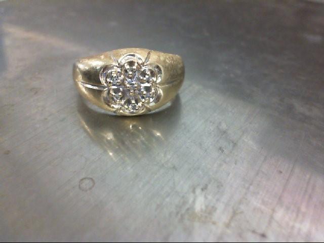 Gent's Diamond Cluster Ring 7 Diamonds .07 Carat T.W. 10K Yellow Gold 4.3g
