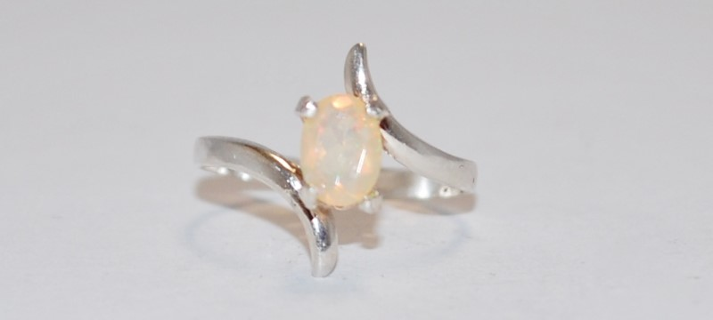 Yellow Stone Lady's Silver & Stone Ring 925 Silver 1.52g Size:6.5