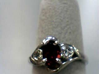 Almandite Garnet Lady's Stone Ring 10K White Gold 1.4dwt Size:6.3