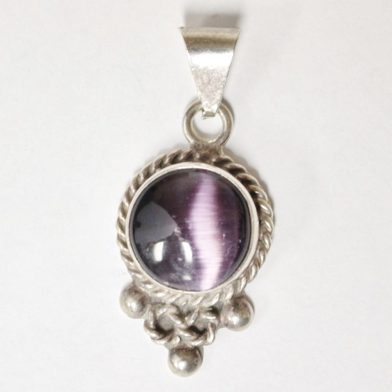Vintage Inspired Purple Stone Centered Silver Pendant 1.5""