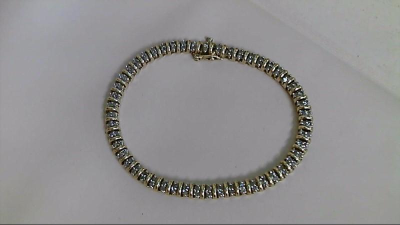 Gold-Diamond Bracelet 100 Diamonds 1.00 Carat T.W. 10K Yellow Gold 11.3g