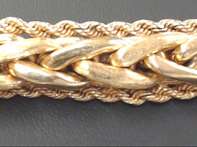 ESTATE SOLID 14K GOLD BRACELET BRAID ROPE ACCENT THICK HEAVY 33g