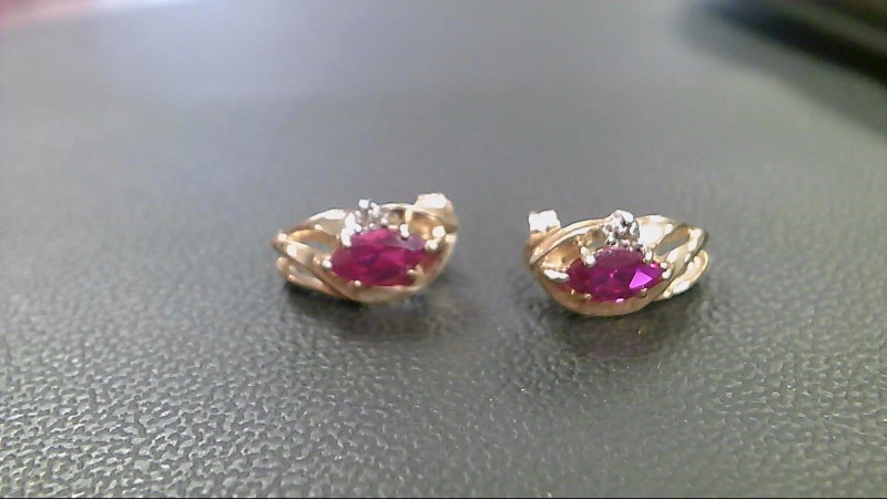 Synthetic Ruby Gold-Stone Earrings 10K Yellow Gold 2.6g