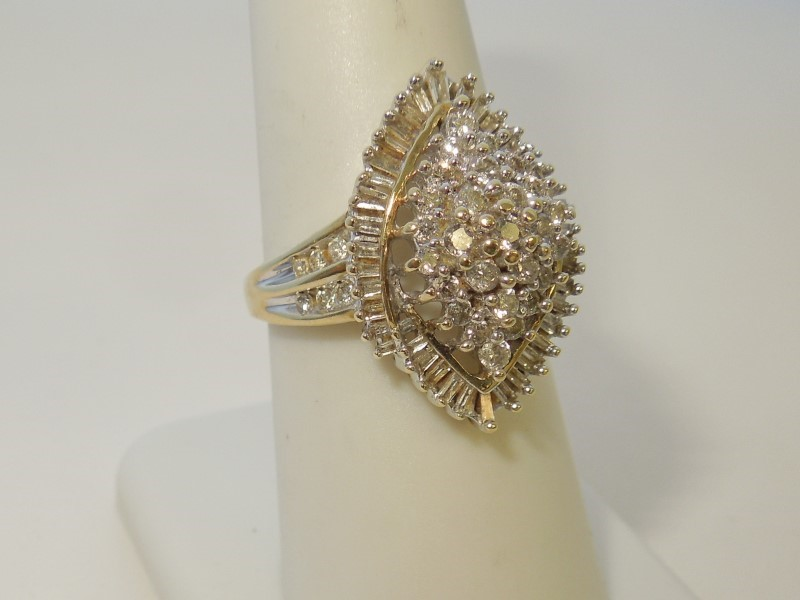 Lady's Diamond Cluster Ring 81 Diamonds .620 Carat T.W. 14K Yellow Gold 4.6g