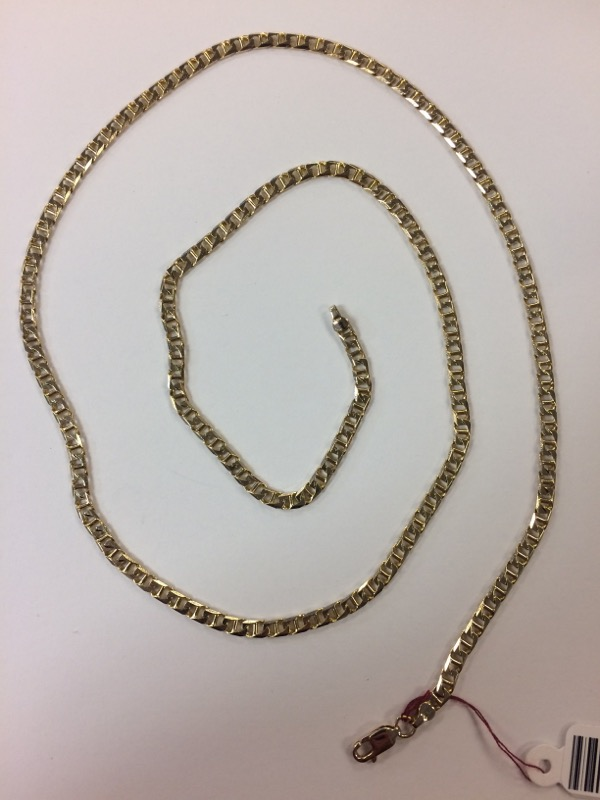 "25"" Gold Anchor Chain 14K Yellow Gold 16.5g"