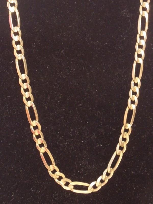 """19"""" Gold Figaro Chain 10K Yellow Gold 8g"""