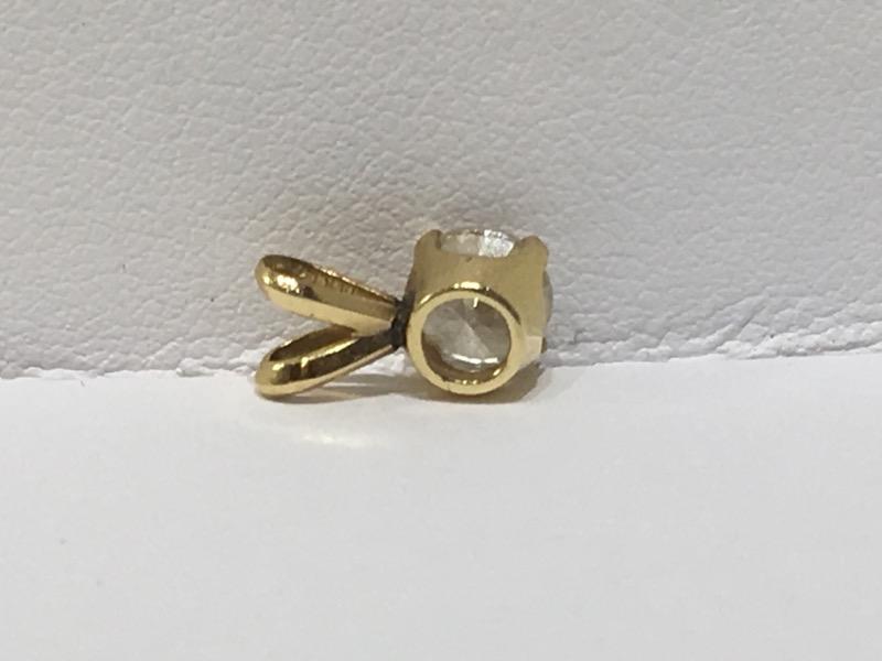 14K Yellow Gold .65ct Round Brilliant 4 Prong Set Diamond Solitaire Pendant