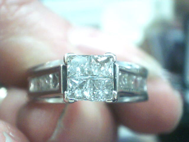 Lady's Diamond Engagement Ring 12 Diamonds 1.48 Carat T.W. 14K White Gold