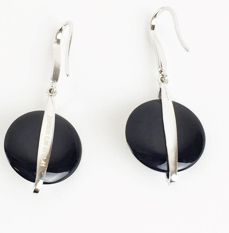 Onyx & Diamond Earrings 48 Diamonds .48 Carat T.W. 18K White Gold