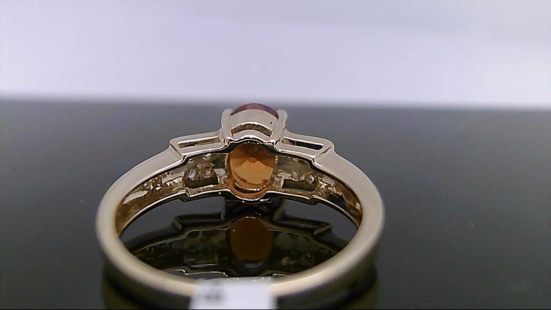 Citrine Lady's Stone & Diamond Ring 14 Diamonds .22 Carat T.W. 14K Yellow Gold