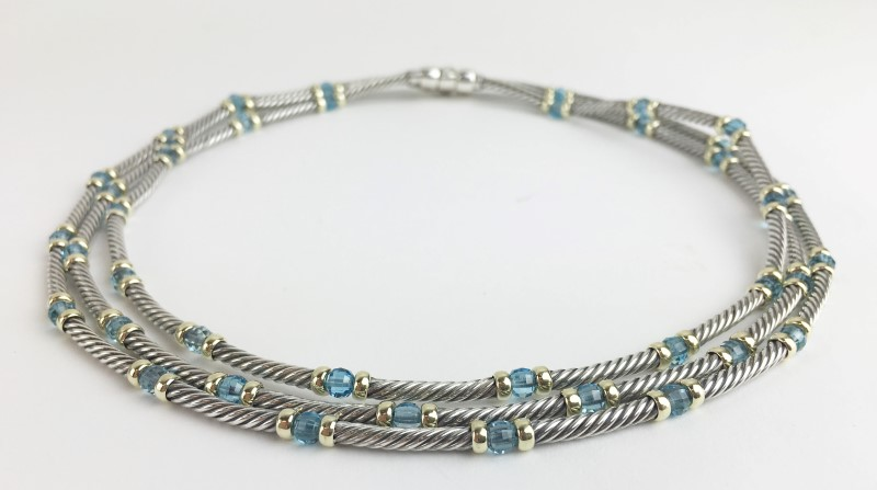 David Yurman Topaz Sterling 14kt Chocker Cable Triple Necklace 68.37g