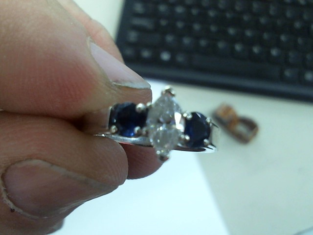 Synthetic Sapphire Lady's Stone & Diamond Ring .30 CT. 14K White Gold 3.3g