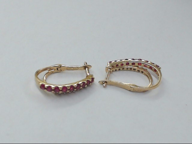 ESTATE DIAMOND RED RUBY DOUBLE HOOP EARRINGS SOLID 10K YELLOW GOLD