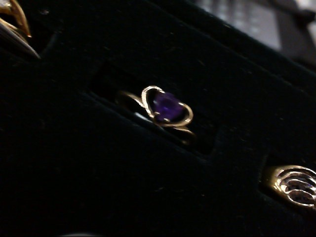 Purple Stone Lady's Stone Ring 10K Yellow Gold 0.7g