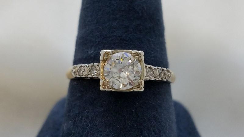 Lady's Diamond Engagement Ring 5 Diamonds .59 Carat T.W. 14K White Gold 2.4g