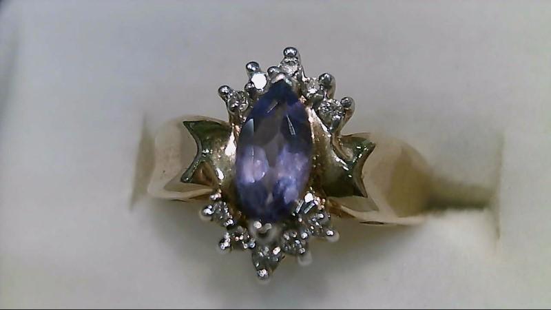 Synthetic Tanzanite Lady's Stone & Diamond Ring 10 Diamonds .10 Carat T.W.
