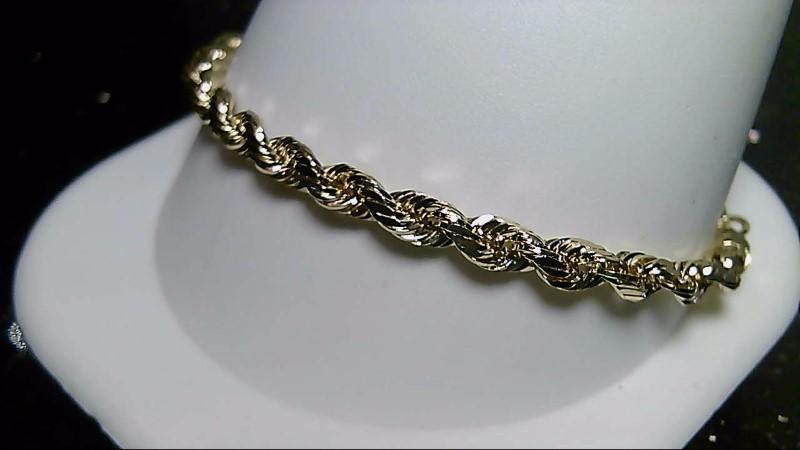 "7"" Gold Rope Bracelet 14K Yellow Gold 4.6g"
