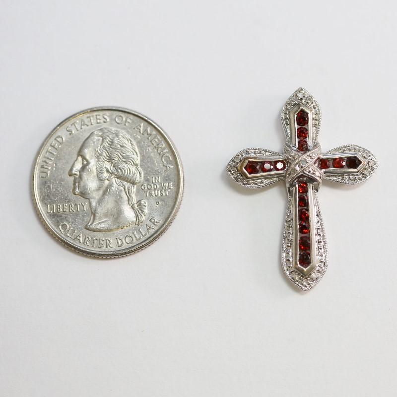 10K White Gold Round Cut Almandite Garnet Cross Pendant