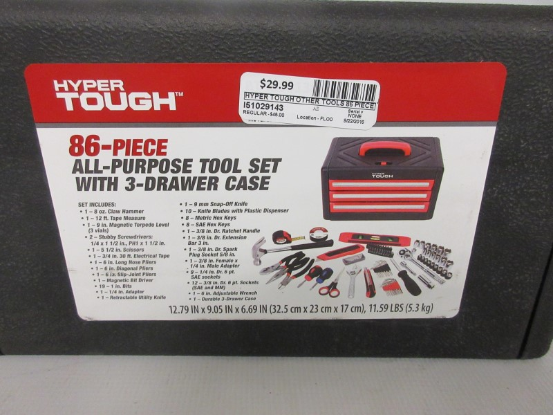 HYPER TOUGH Hand Tool 86 PIECE ALL PURPOSE TOOL SET.