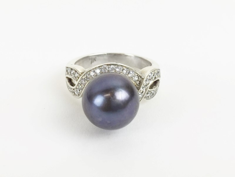 13MM SOUTH SEA PEARL DIAMOND RING WHITE GOLD 14KT
