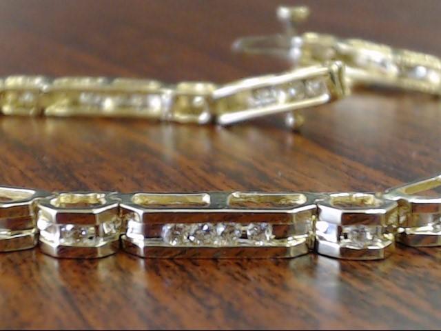 "7.5"" 50 NATURAL DIAMOND 1.0 TCW TENNIS LINK BRACELET 14K GOLD 12.7g"