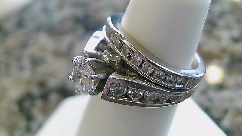 Lady's Diamond Wedding Set 21 Diamonds 1.13 Carat T.W. 14K White Gold 8.1g