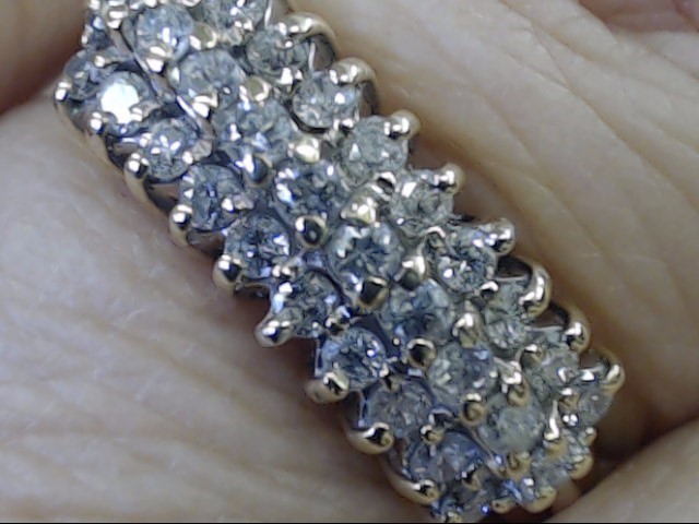 NATURAL DIAMOND CLUSTER ANNIVERSARY WED RING BAND 10K GOLD SZ 6.25