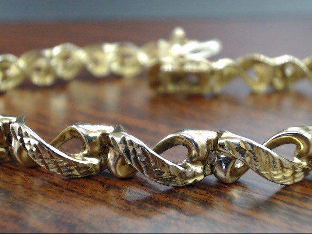 "ESTATE 7.25"" INFINITY DESIGN LINK BRACELET REAL 10K YELLOW GOLD 12g"