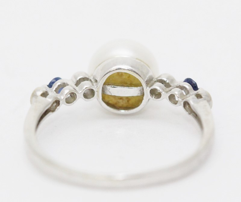 14K White Gold 8mm White Pearl Ring w/ Diamond & Sapphire Accents Size 7.75